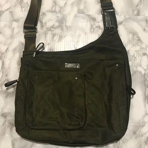 Army green Tumi crossbody messenger bag